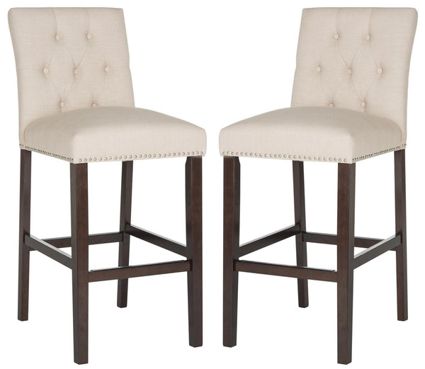 Norah Bar Stool (Set of 2) Beige Pair Front View