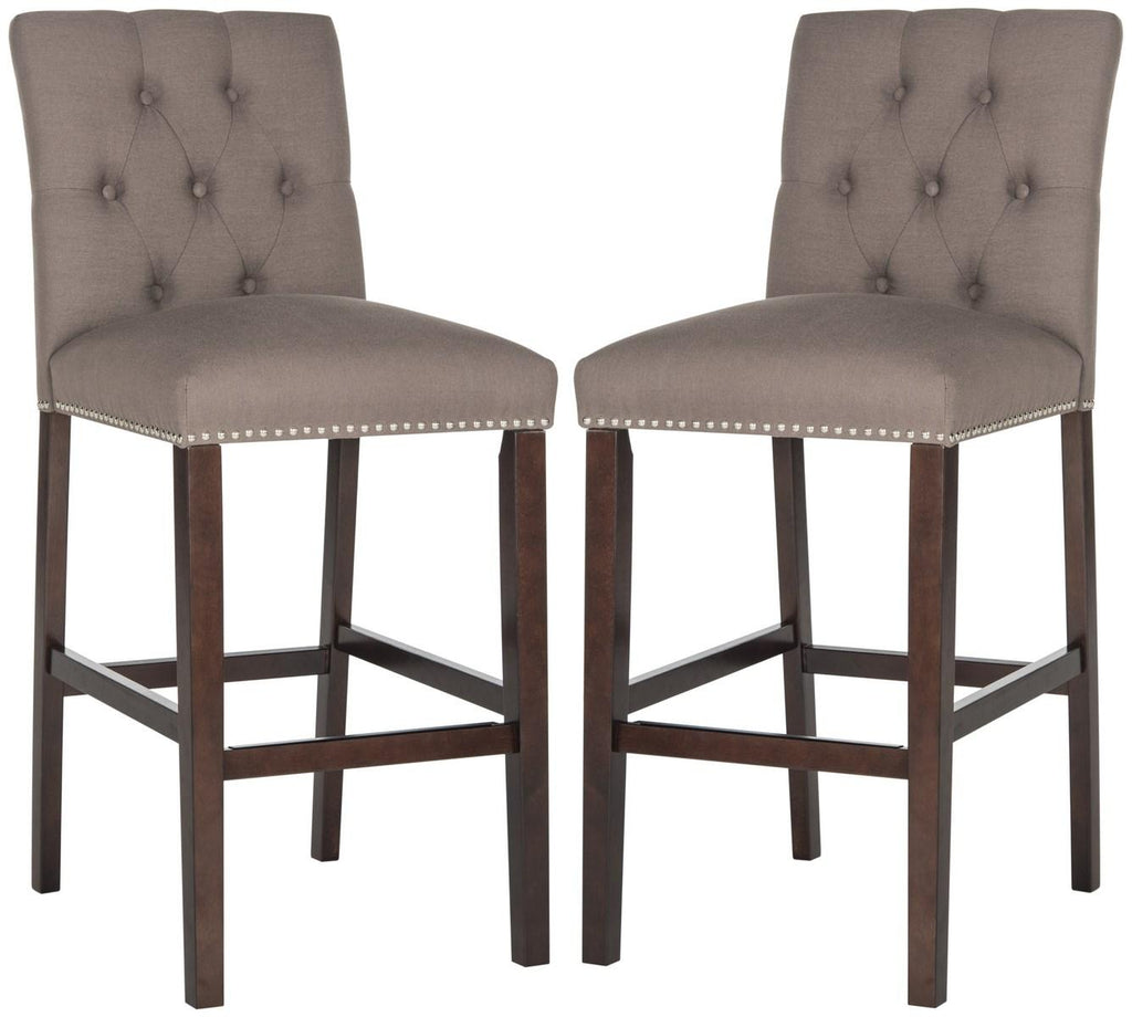 Norah Bar Stool (Set of 2) Dark Taupe Pair Front View