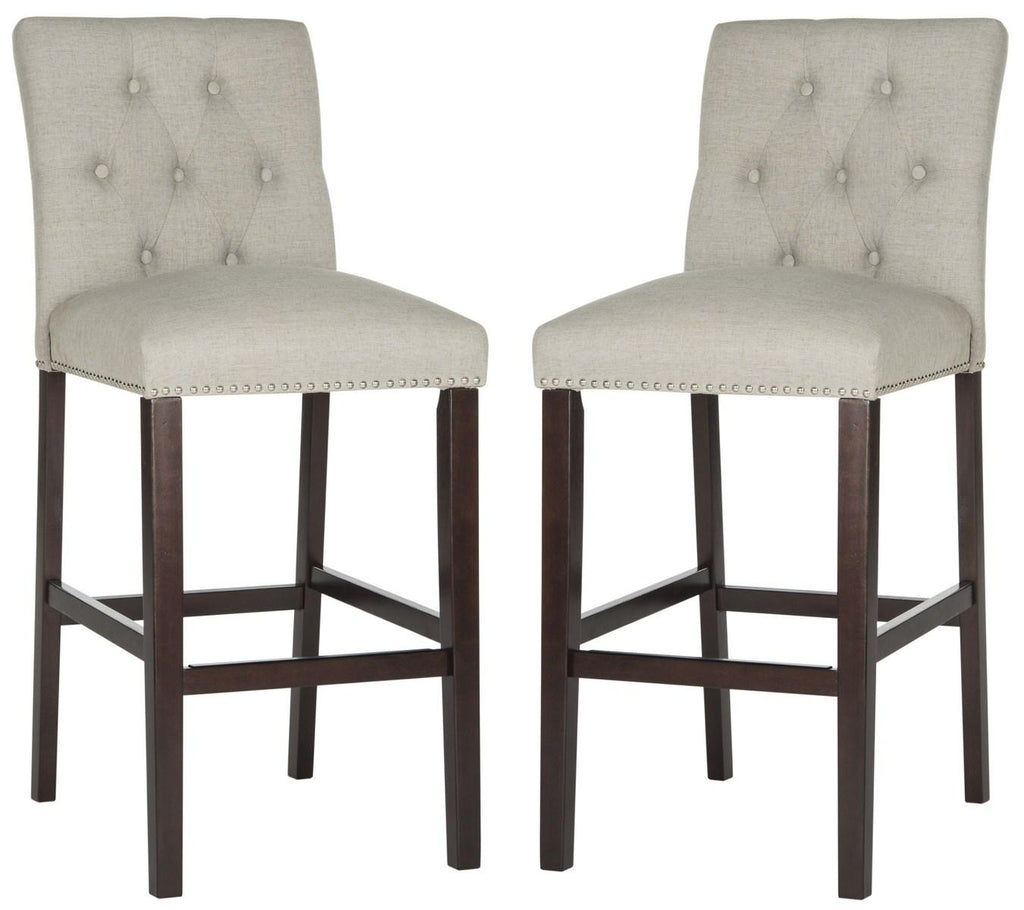 Norah Bar Stool (Set of 2) Light Gray Pair Front View