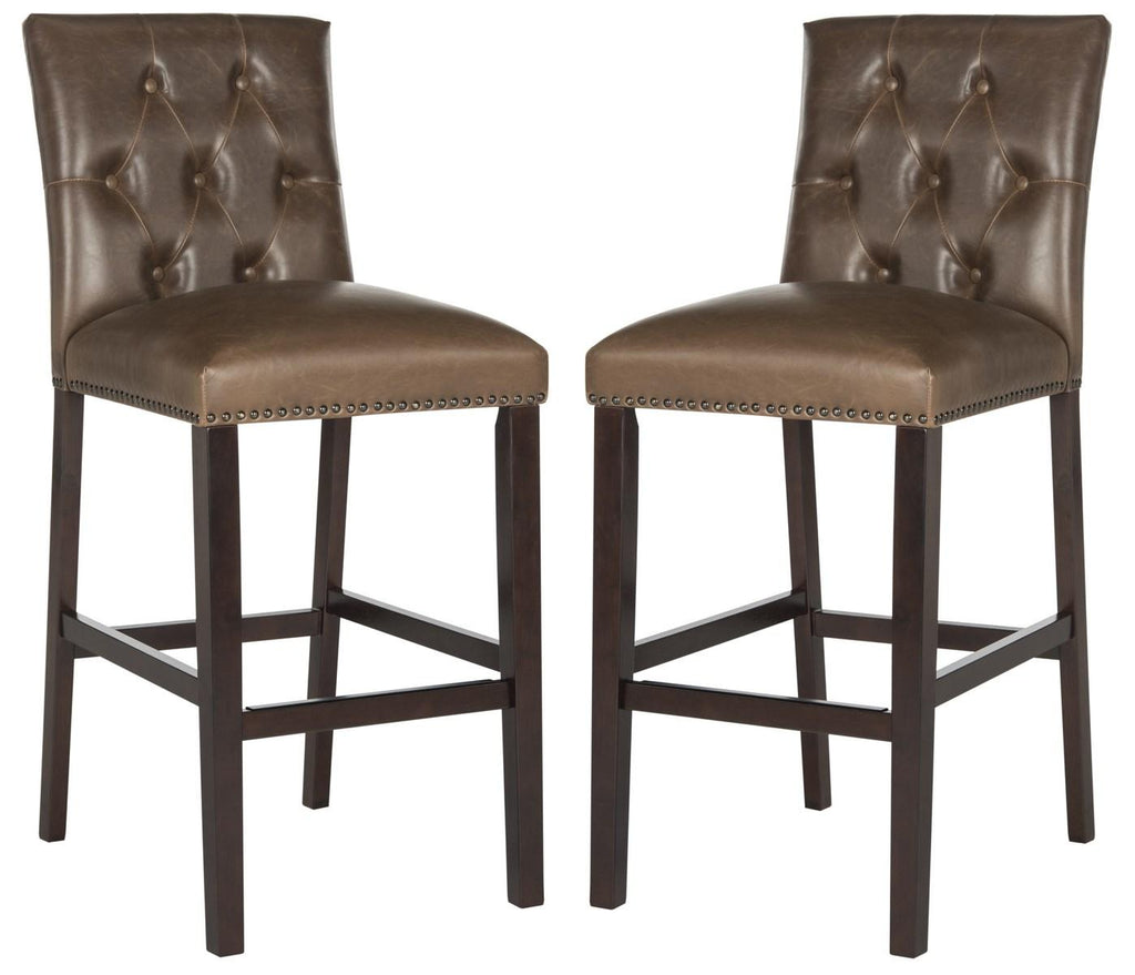 Norah Bar Stool (Set of 2) Brown Pair Front View