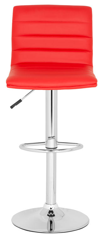 Arissa Swivel Bar Stool Red Front View
