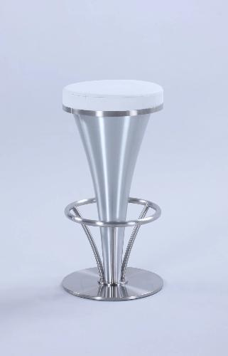 "Chintaly Imports ""V"" Stainless Steel Bar Stool White Seat View"