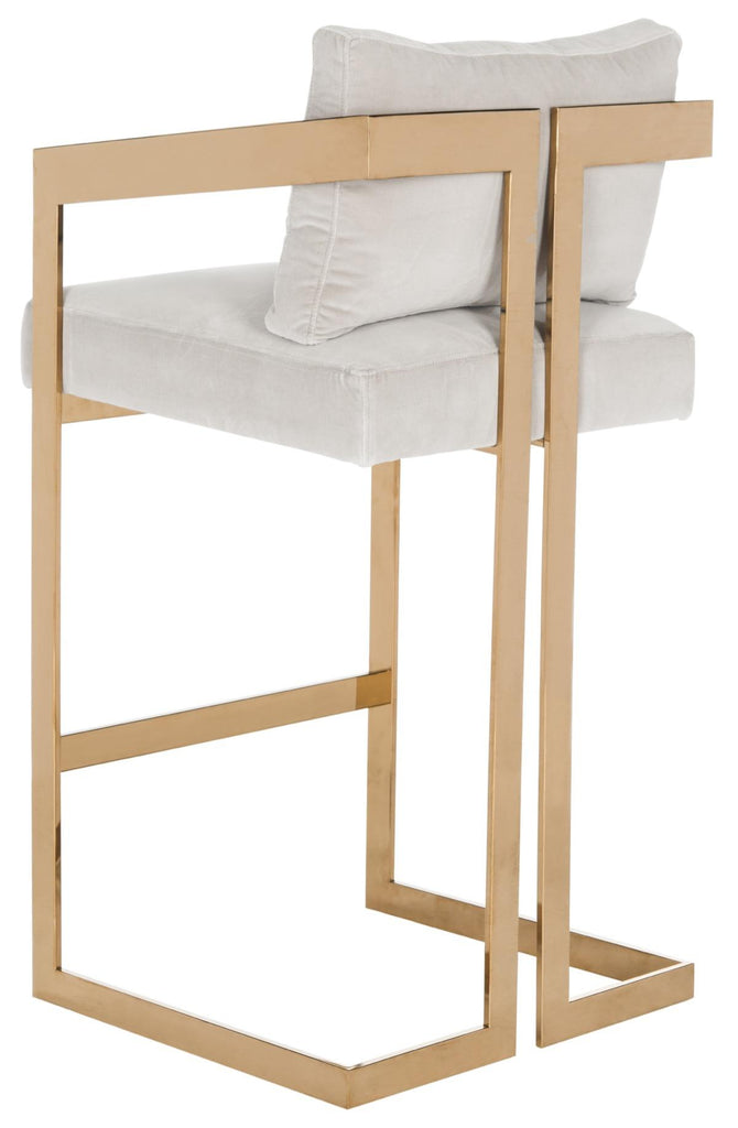 Taraji Velvet Bar Stool Beige Back View