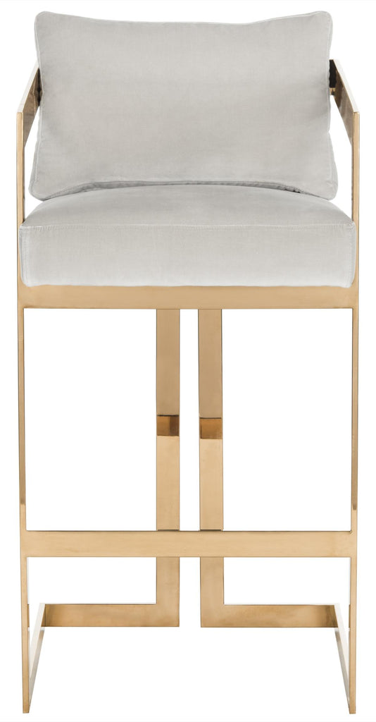 Taraji Velvet Bar Stool Beige Front View