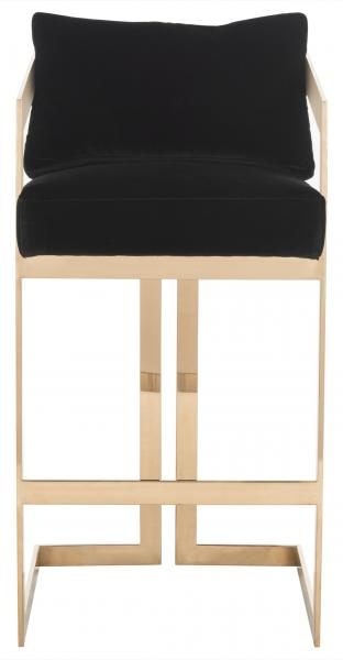 Taraji Velvet Bar Stool Black Front View