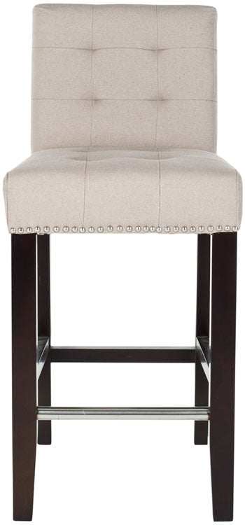 Thompson Leather Counter Stool Taupe Front View