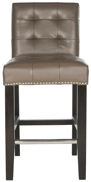 Thompson Leather Counter Stool Clay Front View