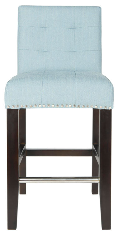 Thompson Leather Counter Stool Sky Mist Front View