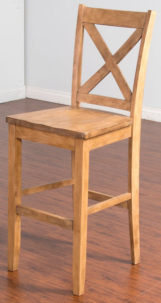 "30"" Cross-back Bar Stool Corner View"