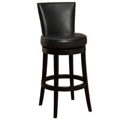 "Armen Living Boston Swivel Barstool In Bonded Leather 26"" Available in Black or Red - Perfect Home Bars"
