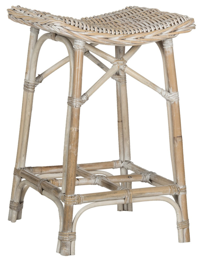Rayna Wicker Bar Stool Front Corner View