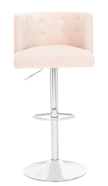 Safavieh Zayna Adjustable Barstool Light Pink Front View