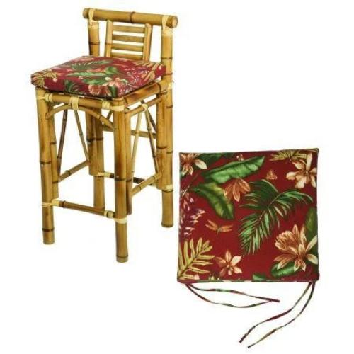 Tiki Bar Stool with Burgundy Cushions Front View
