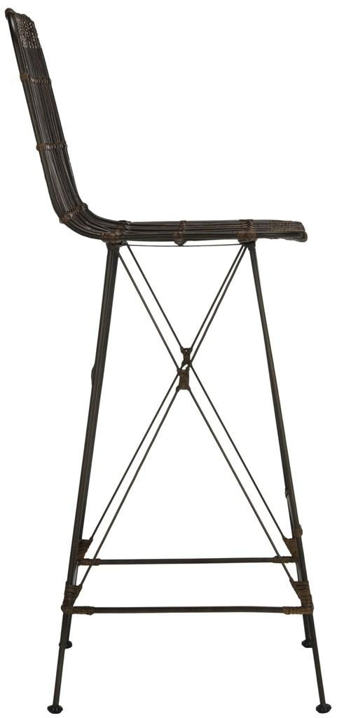 Safavieh Minerva Wicker Bar Stool - Available in Croco Brown, Natural Brown or White Wash