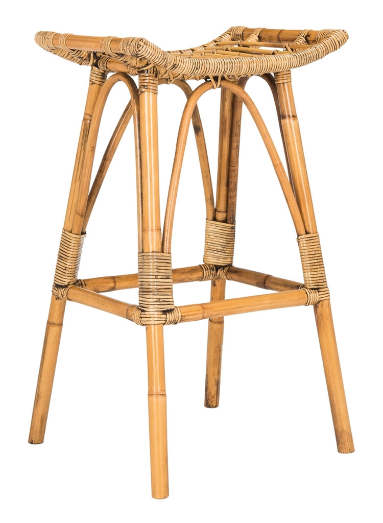Safavieh Leda Rattan Bar Stool Available in Honey Brown or Gray White Wash