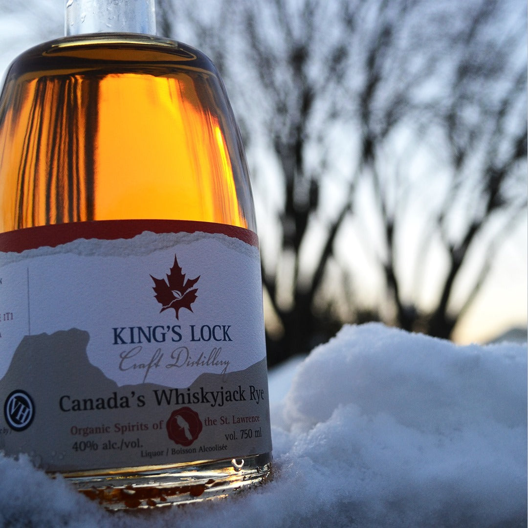Close-up view of Canada's WhiskyJack Rye placed on snow