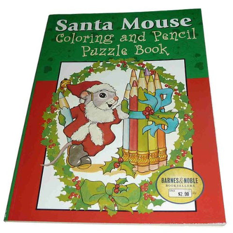 Santa Mouse Coloring and Pencil Puzzle Book