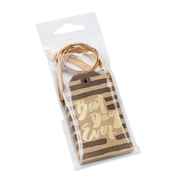 Gold Gift Tag Set with Raffia Ribbon