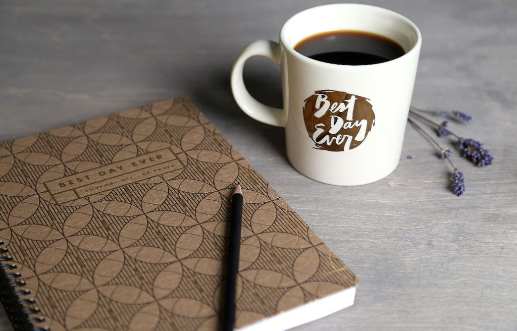 Letterpress Notebook with Best Day Ever Mug
