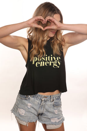 Positive Energy Holiday Cropped Muscle Tank