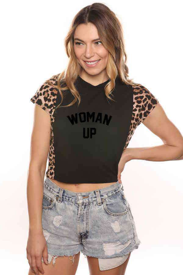 Woman Up Leopard Tee