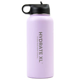 Stainless steel water bottle with straw lid