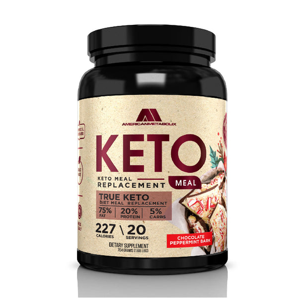 American Metabolix Keto Meal Replacement Shake with powder butter, Chocolate Peppermint Bark - low carb, high fat keto shake. Promotes weight loss Suppresses Appetite - 20 Servings