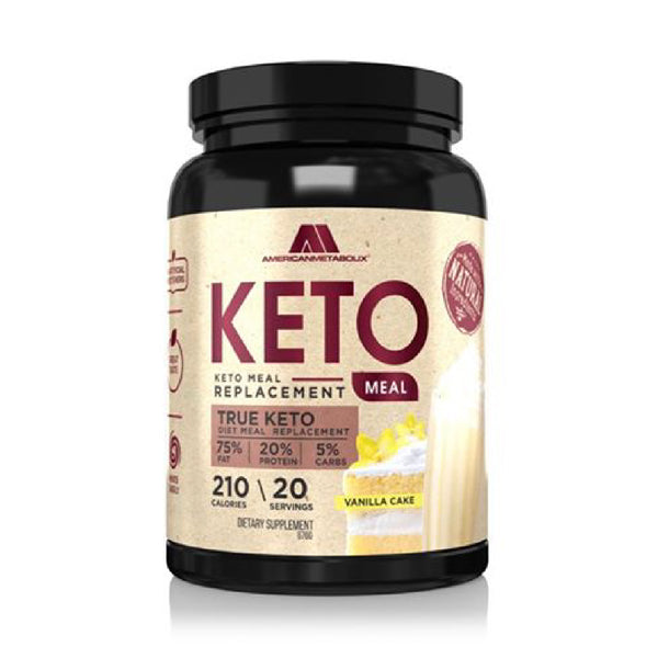 American Metabolix Keto Meal Replacement Shake with powder butter, Vanilla Cake | Low Carb, High Fat Keto Shake | Promotes Weight Loss & Suppresses Appetite | 20 Servings