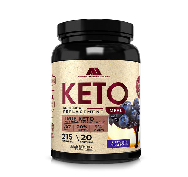American Metabolix Keto Meal Replacement Shake with powder butter, Blueberry Cheesecake | Low Carb, High Fat Keto Shake | Promotes Weight Loss & Suppresses Appetite | 20 Servings