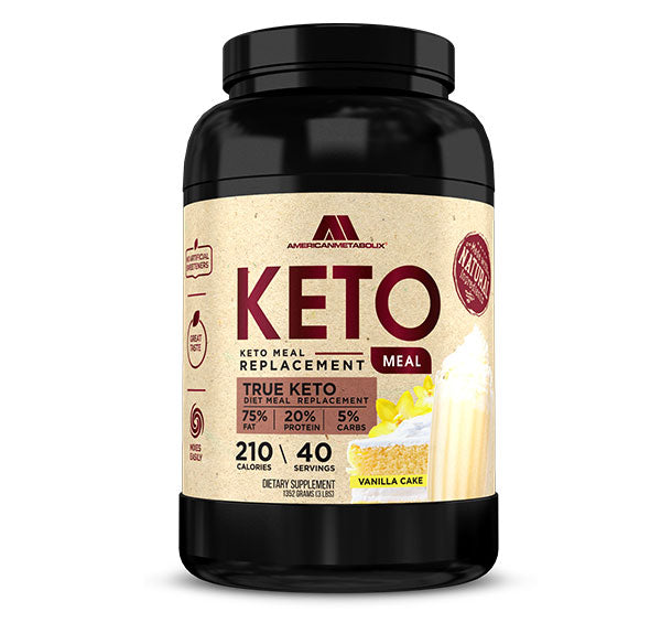 American Metabolix Keto Meal Replacement Shake with powder butter, Vanilla Cake | Low Carb, High Fat Keto Shake | Promotes Weight Loss & Suppresses Appetite | 40 Servings