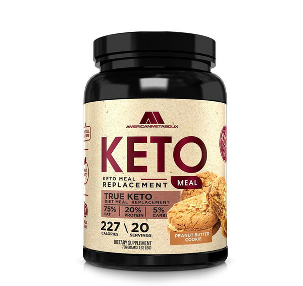 American Metabolix Keto Meal Replacement Shake with powder butter, Peanut Butter Cookie | Low Carb, High Fat Keto Shake | Promotes Weight Loss & Suppresses Appetite | 20 Servings