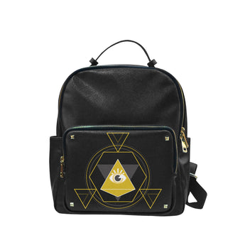 Alchemist black leather backpack Leisure Backpack (Model1650) (Small)