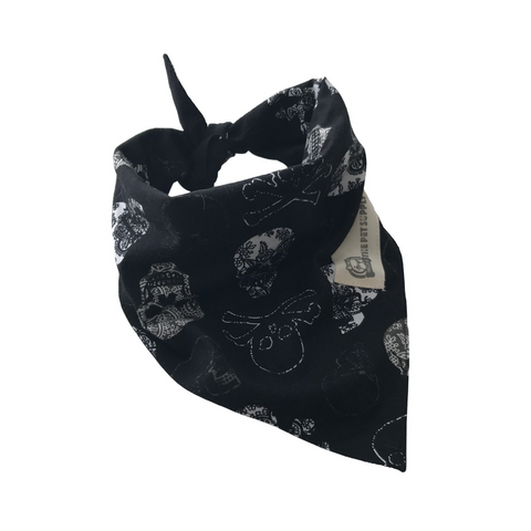 Bella B. Dog Bandana (Black Skull)