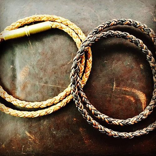 Flint Bracelet - Braided Leather Cord - .22 Brass