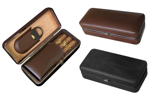 3 Cigar Folding Leather Case /BLK