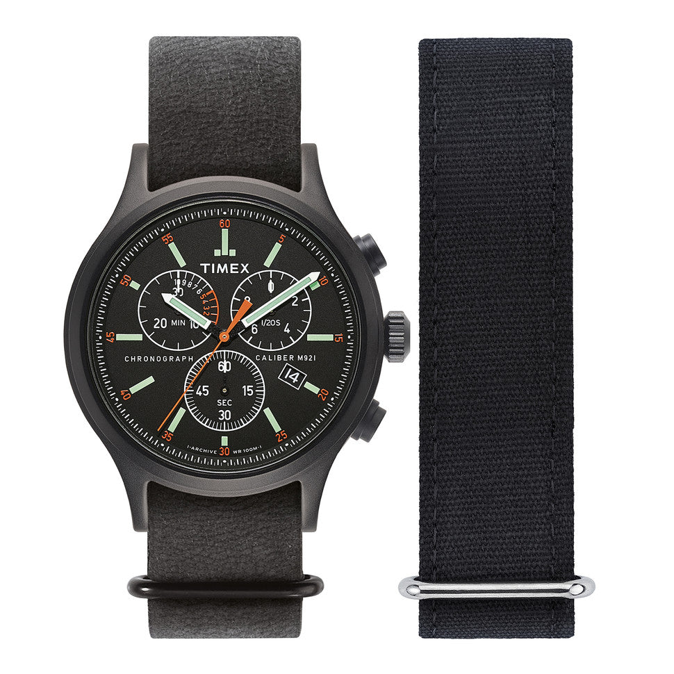 Timex Archive Acadia Chronograph  Watch - 42mm Black / Black