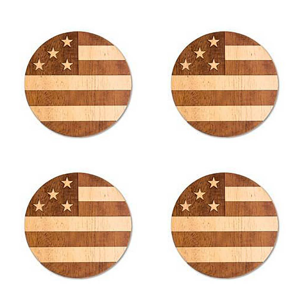 Wood Coaster Set- 4pc Circle