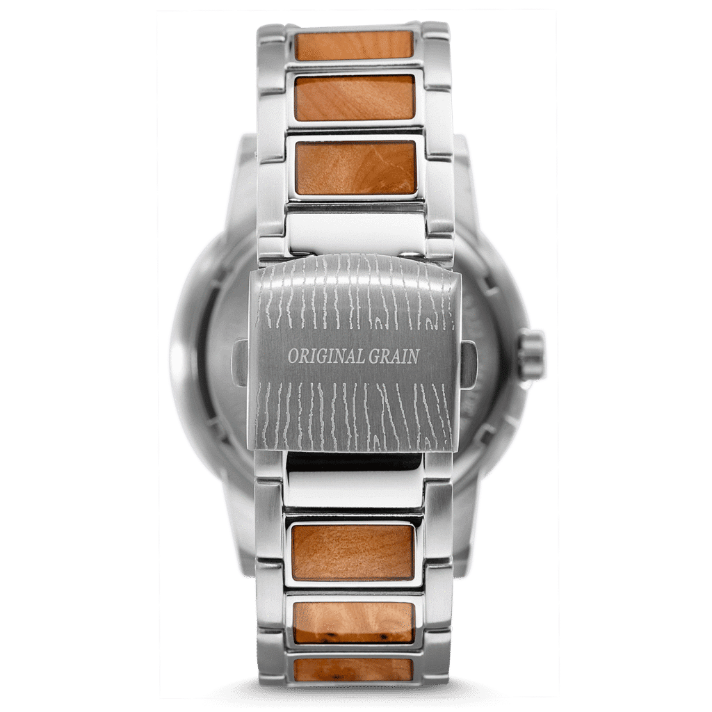 Burl Wood Silver Barrel 47mm Watch