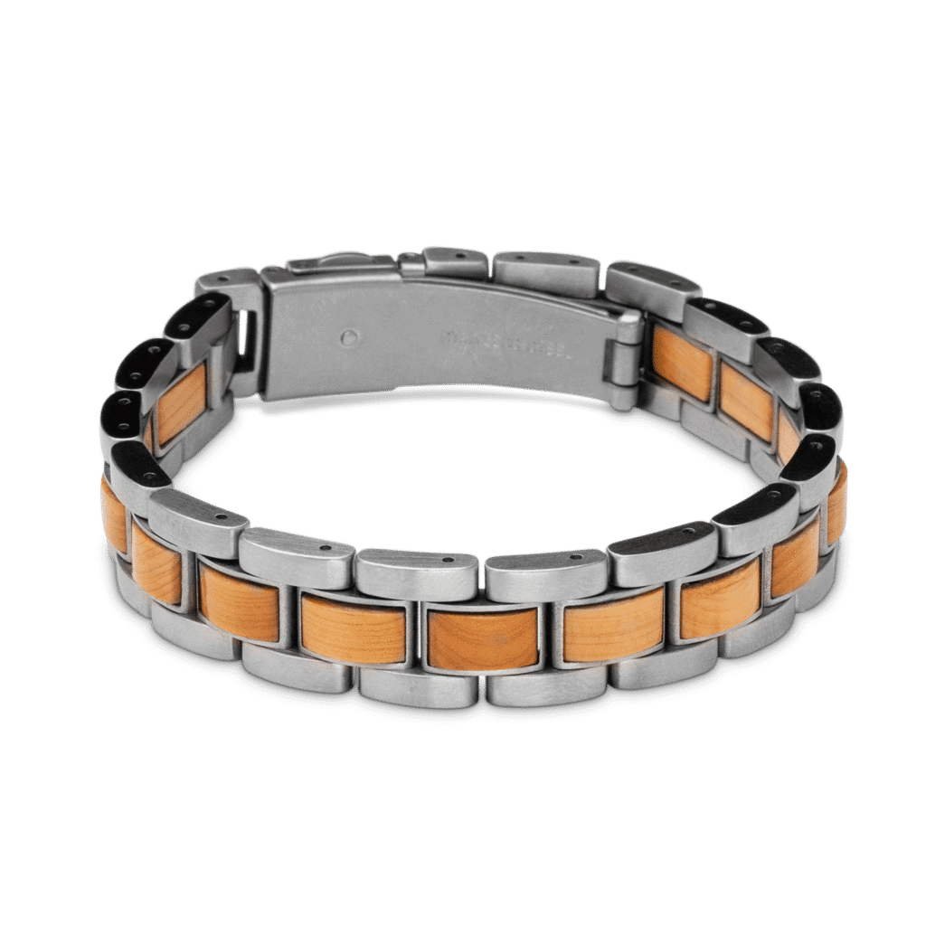 Burlwood & Brush Steel Link Bracelet