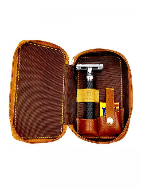 Parker  Leather Zipper Close, Safety Razor case - Brown