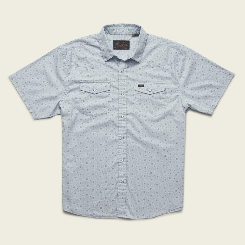 H Bar B Snapshirt -Little Agave Print - Ice Blue
