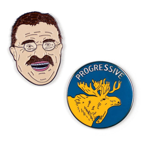 Theodore Roosevelt & Bull Moose Pins (set of 2)