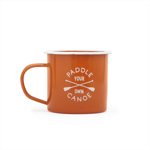 """Paddle Your Own Canoe""-Enamel Mug 11oz"