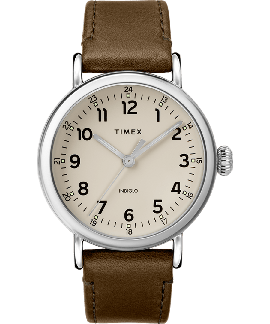 Timex® Standard 40mm Leather Strap Watch
