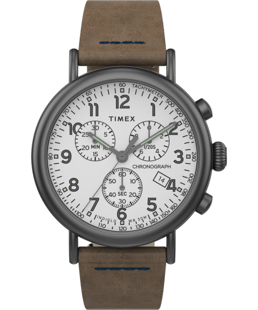 Timex® Standard Chronograph 41mm Leather Strap Watch