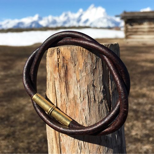 Flint Bracelet - Leather Cord - .22 Brass