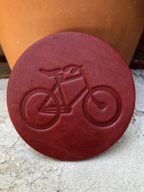 "Leather Coaster -""Bicycle Image"""