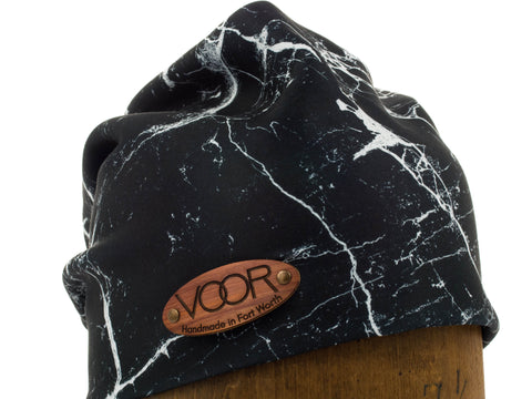 Marble | Ultra-Soft Scuba Knit Slouchy Beanie | Wood Patch