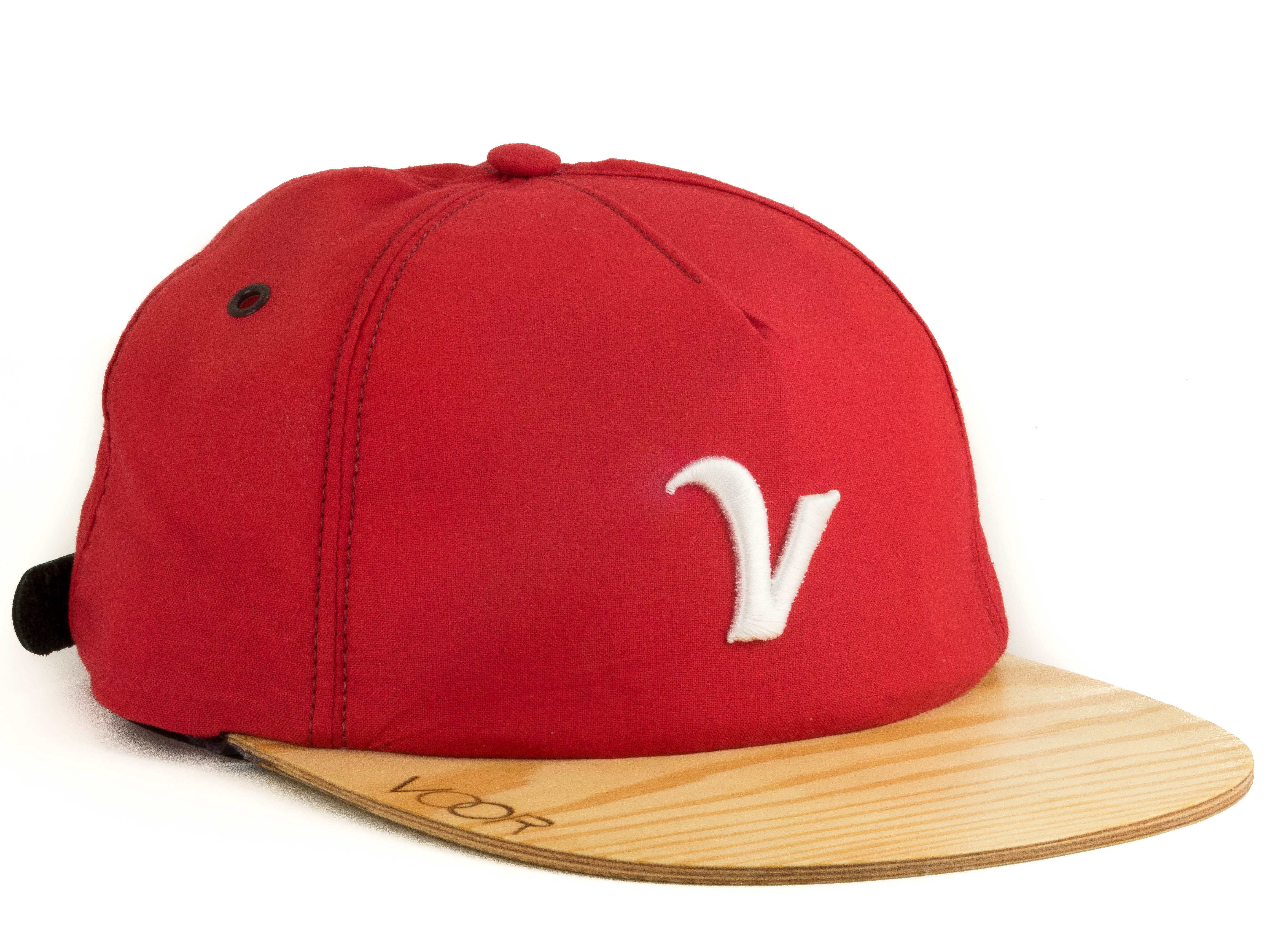 Trucker | Red Kona | Wood Brim Hat