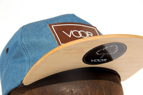 Trucker | Blue Denim | Wood Brim Hat
